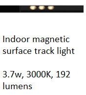 DESS INDOOR MAGNETIC SURFACE TRACK LIGHT LED 3.7W 3000K 192 LUMENS GLPR 522217-48V