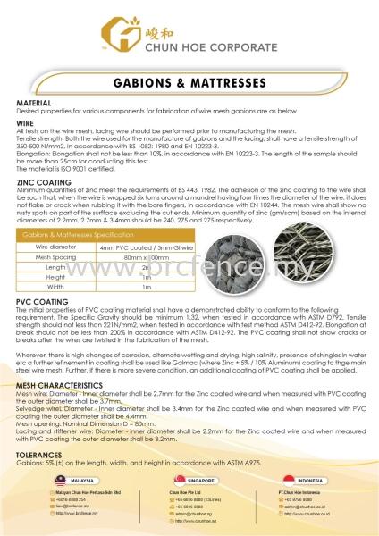 Gabions & Matteresses Gabions / Matteres Malaysia, Johor Bahru (JB), Singapore, Indonesia Supplier, Manufacturer, Supply, Supplies | MALAYAN CHUN HOE PERKASA SDN BHD