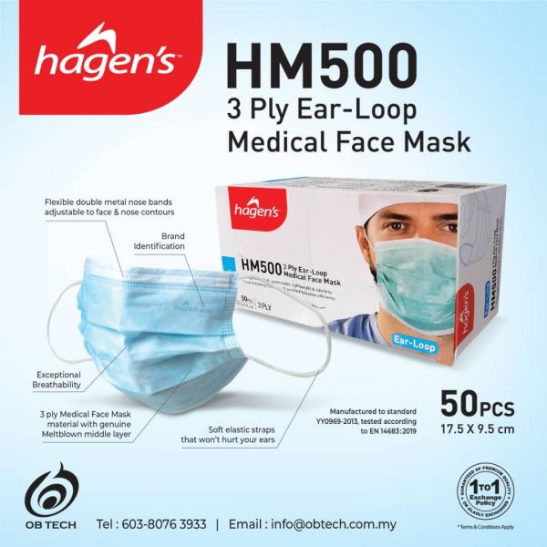 Hagen's Medical 3 ply Disposable Face Mask (Ear Loop) Face Mask Heathcare & Hygiene Selangor, Malaysia, Kuala Lumpur (KL), Puchong Supplier, Suppliers, Supply, Supplies | Obtech Corporation (M) Sdn Bhd