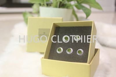 Round Green Button with Silver Border