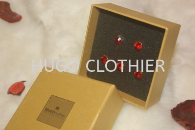 Ruby Red Button with Silver Holder
