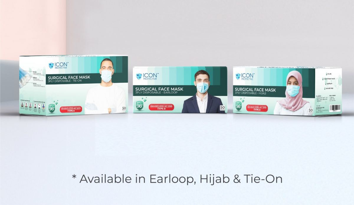 TYPE II SURGICAL FACE MASK 3 PLY Malaysia, Kedah, Sungai Petani Manufacturer, Supplier, Supply, Supplies | Icon Packaging Sdn Bhd