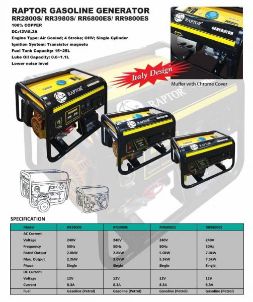 RAPTOR GASOLINE GENERATOR (100% COPPER) GENERATOR CONSTRUCTION & ENGINEERING EQUIPMENT Selangor, Klang, Malaysia, Kuala Lumpur (KL) Supplier, Suppliers, Supply, Supplies | Meng Fatt Chain Saw & Machinery Service