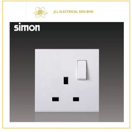 Simon Switch E6 721382 13A 1 Gang Flat Switched Socket Outlet White