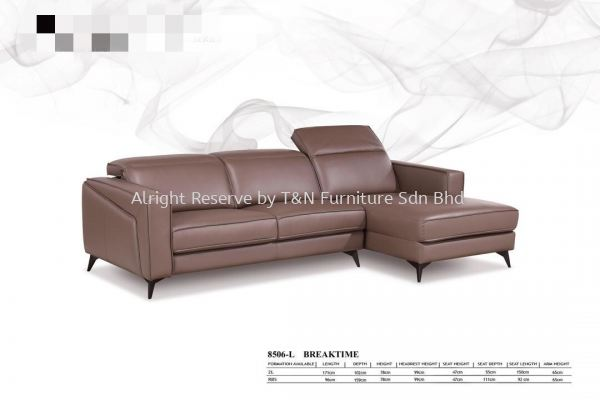 8506-L Half Leather L-Shape Sofa Set Genuine Half Leather & Full Leather Sofa  Kuala Lumpur (KL), Malaysia, Selangor, Semenyih Supplier, Suppliers, Supply, Supplies | T & N Furniture Sdn Bhd