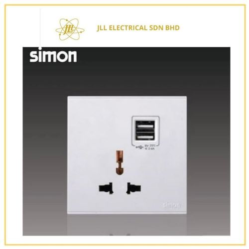 Simon Switch  i7 70E725-30 10A Universal Socket Outlet With Double USB Charging Outlet (5v2A) Matt White