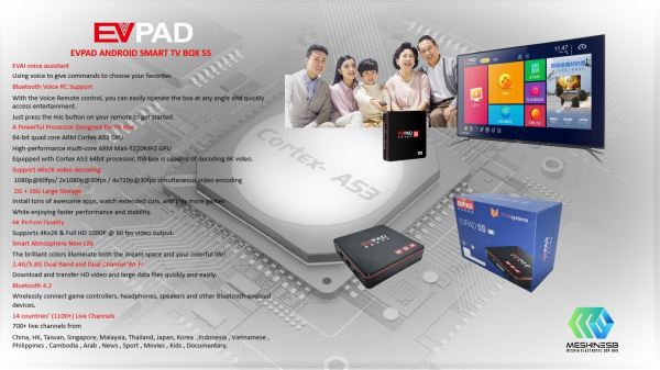 EVPAD-5S Android Smart TV Box Android Smart TV Box Kuala Lumpur (KL), Malaysia, Selangor, Pudu Supplier, Suppliers, Supply, Supplies | Meshin Electronic Sdn Bhd