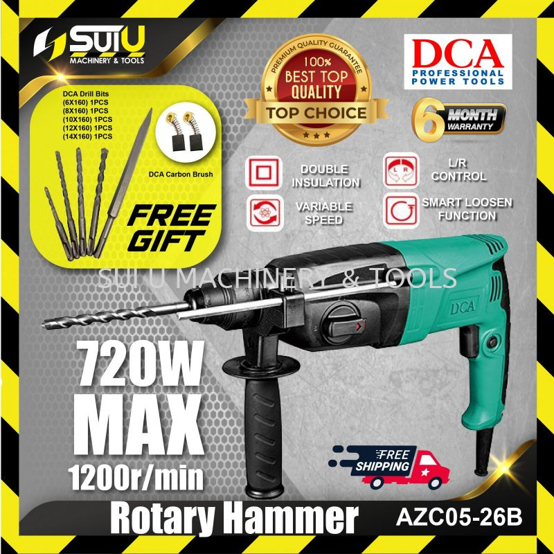 DCA AZC05-26B / AZC 05-26B Rotary Hammer 720w 26mm FREE 5 Drill Bits & Carbon Brush