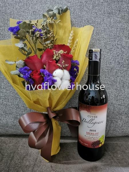 Red Wine + Flower Gifts For Him/Her Johor Bahru (JB), Malaysia, Ulu Tiram Supplier, Suppliers, Supply, Supplies   HV A Flower House