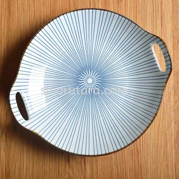 HX60028 9'' Round Plate With Two Handle Bowl Japanese Blue Line Ceramic Kedah, Malaysia, Lunas Supplier, Suppliers, Supply, Supplies | TH Sinar Utara Trading