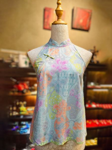 Sold Out - BTK(T)027 Batik Flare Qipao Top Tops Batik Cheongsam Qipao/Cheongsam Series Penang, Malaysia, George Town Supplier, Suppliers, Supply, Supplies | Jade Collection Trading