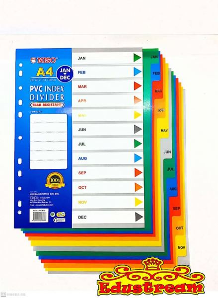 NISO A4 PVC INDEX DIVIDER  ( MONTH ) Labels Paper Product Stationery & Craft Johor Bahru (JB), Malaysia Supplier, Suppliers, Supply, Supplies | Edustream Sdn Bhd