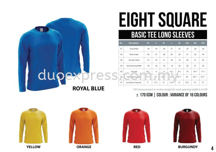 EIGHTSQUARE Cotton Adults Roundneck T Shirt L.Sleeve 1