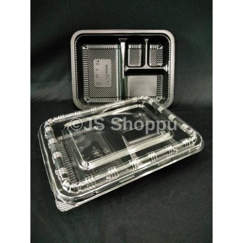 4 Compartment Lunch Box (50pcs±) BT-4 / Disposable PP Lunch Box / Kotak Nasi