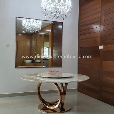 Elegant Round White Marble Dining Table   Stain Free   Volakas