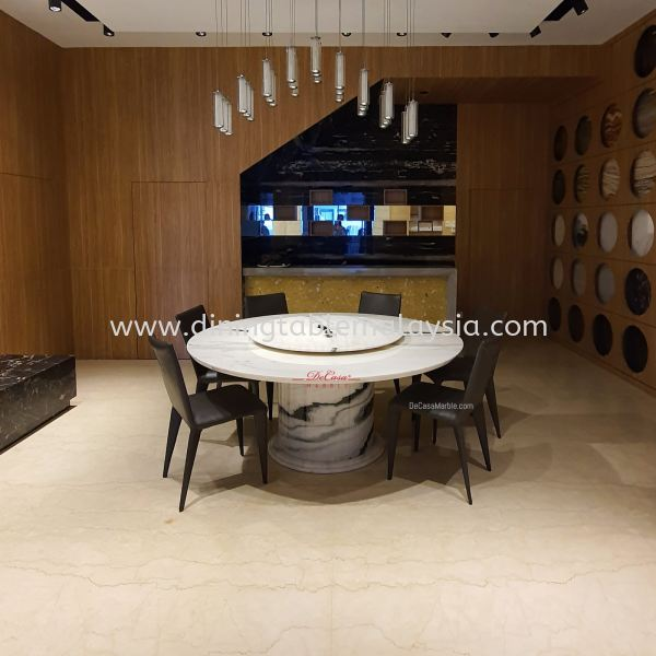 Majestic Round Dining Table | Panda White | 10 Seaters Marble Dining Table Malaysia, KL Manufacturer, Exporter | DeCasa Marble Sdn Bhd