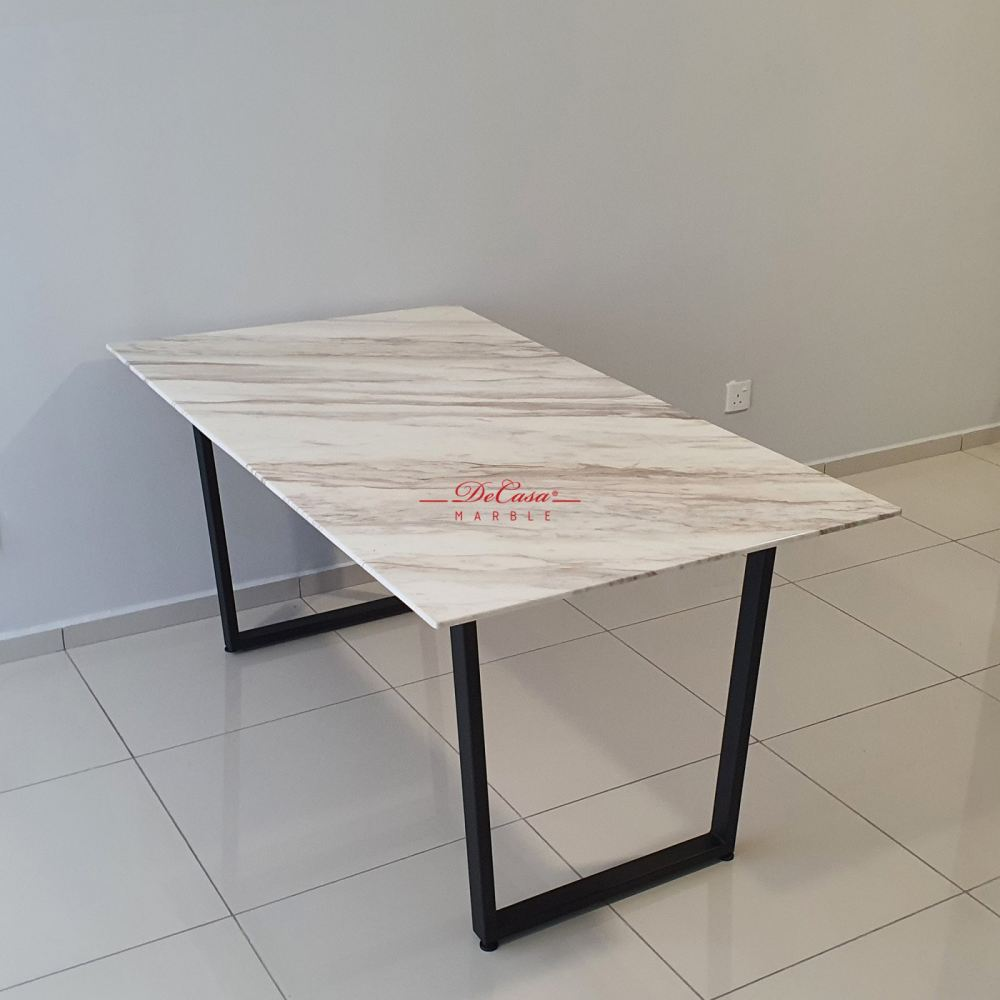 White Marble Dining Table   Volakas   4 seaters