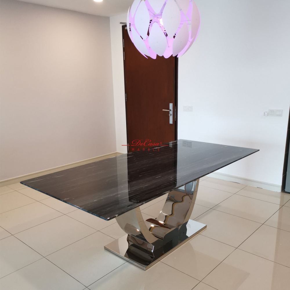 Modern Black Marble Dining Table | Nero Bella | 8 seaters