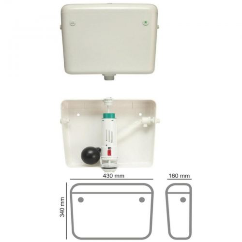 TPE-1123 Premium Mid Level Cistern Dual Flush White