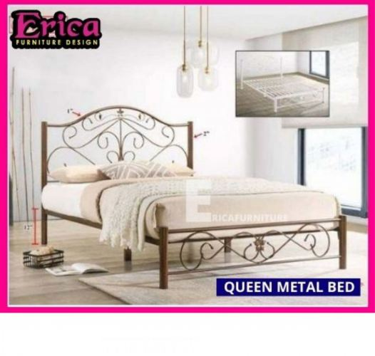 Queen Metal Bed White & Brown colour