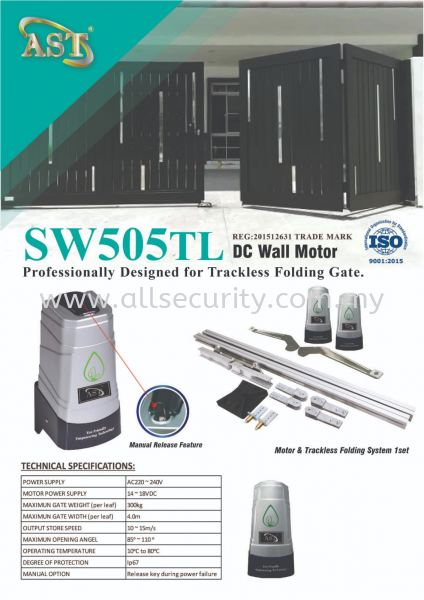 SW505TL TRACKLESS FOLDING AUTOGATE SYSTEM AST 自动门系统   Manufacturer, Supplier, Supply, Supplies | AST Automation Pte Ltd
