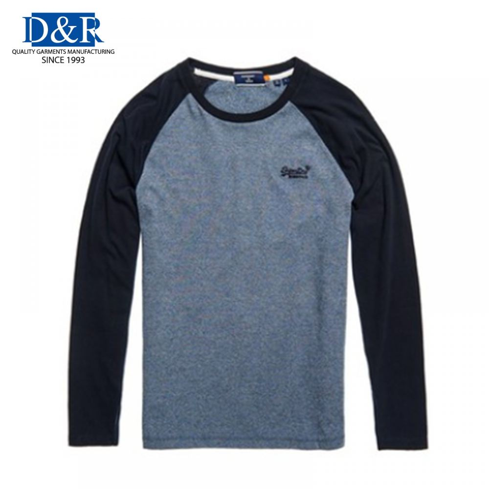 Men Texture Baseball Long Sleeve top