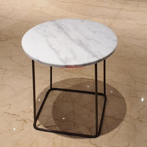 Round Marble Side Table - Imperial White | Cash & Carry