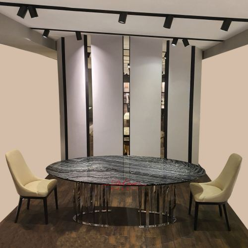 Luxury Oval Marble Dining Table | Antique Wood | 8 Seaters