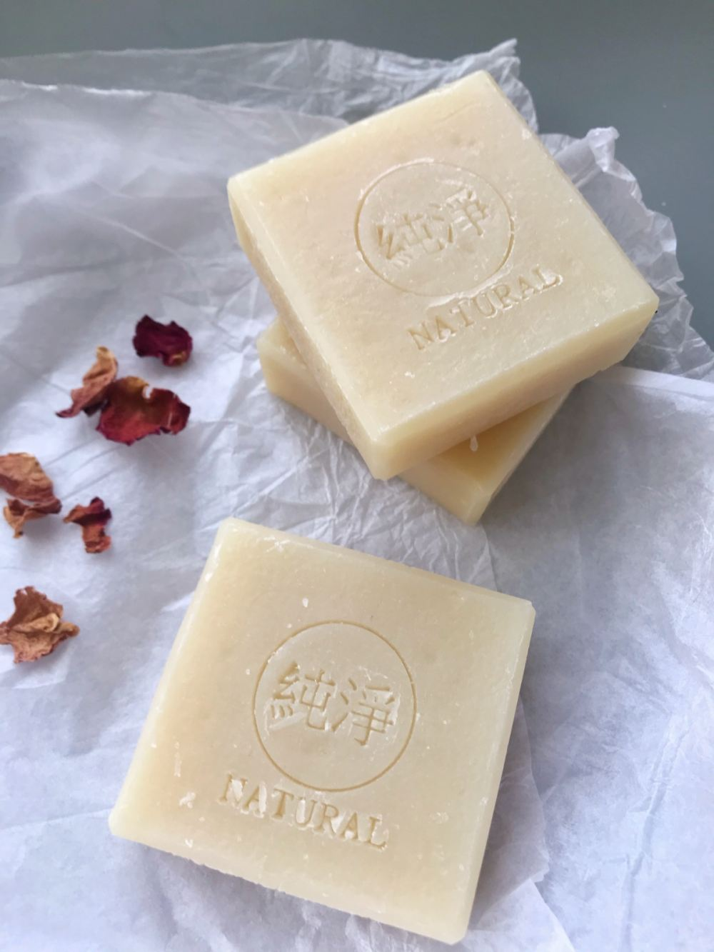 Rice and tragacanth gum soap