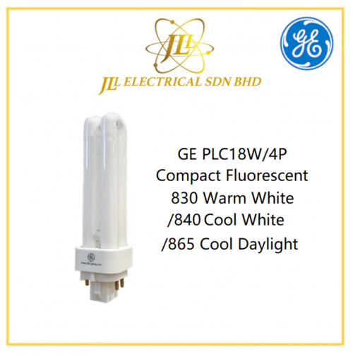 GE PLC18W/4P Compact Fluorescent 830 Warm White/840 Cool White/865 Cool Daylight