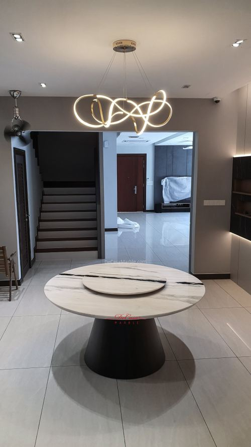 Elegant White Marble Table | Panda White | 8 Seaters