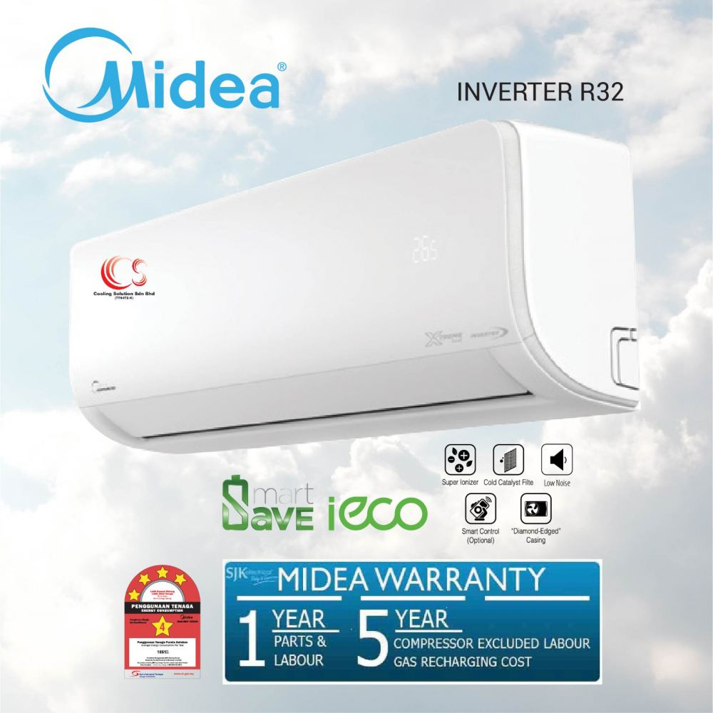 (MSXS-10CRDN8) Midea Xtreme Save 1.0 HP - 2.5 HP Inverter Air Conditioner + R32 Refrigerant