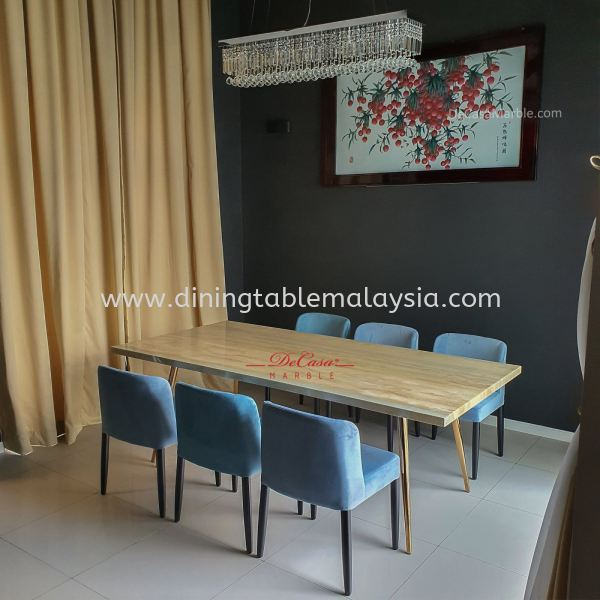 Modern Beige Marble Dining Table | Roma Travertine | 8 seaters Marble Dining Table Malaysia, Selangor, Kuala Lumpur Supplier, Suppliers, Supply, Supplies | DeCasa Marble Sdn Bhd