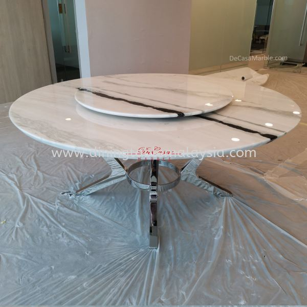 Modern White Marble Table | Panda White | 10 Seaters Marble Dining Table Malaysia, KL Manufacturer, Exporter | DeCasa Marble Sdn Bhd