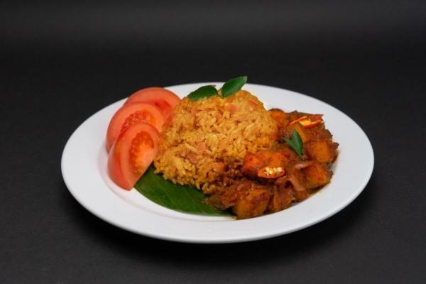Tomato Rice With Potato Masak Merah  V-NION Frozen Plant-Based Ready Meals Penang, Malaysia, Bukit Mertajam Supplier, Suppliers, Supply, Supplies | V-NION FOOD INDUSTRIES SDN BHD