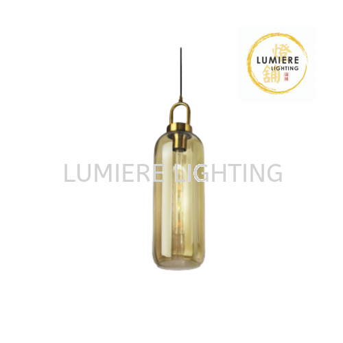 Nordic Minimalist Amber Long Glass Single Pendant Light