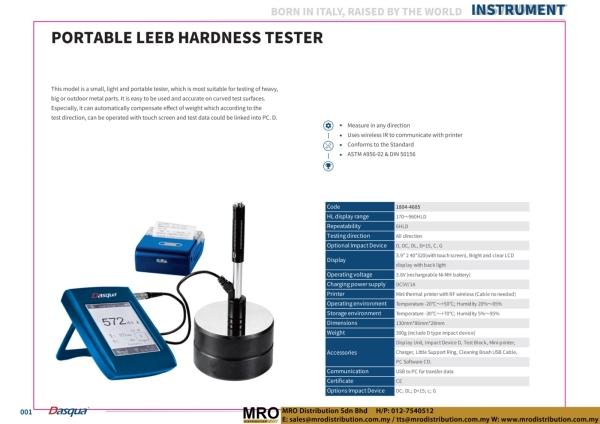 Portable Leeb Hardness Tester Instrument DASQUA Selangor, Malaysia, Kuala Lumpur (KL), Shah Alam Supplier, Suppliers, Supply, Supplies   MRO Distribution Sdn Bhd