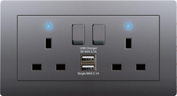 2 GANG 13A SWITCHED SOCKET C/W DOUBLE USB CHARGER Dark Grey A38 Modern Series Johor Bahru (JB), Malaysia, Selangor, Kuala Lumpur (KL) Supplier, Suppliers, Supply, Supplies | Art Dna (M) Sdn Bhd
