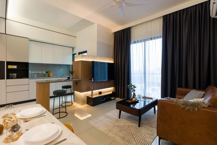 Condo - Living & Dining, TV Feature, Modern