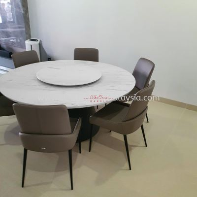Majestic Round Marble Dining Table | Sivec White | Dia5.5ft 10 seaters