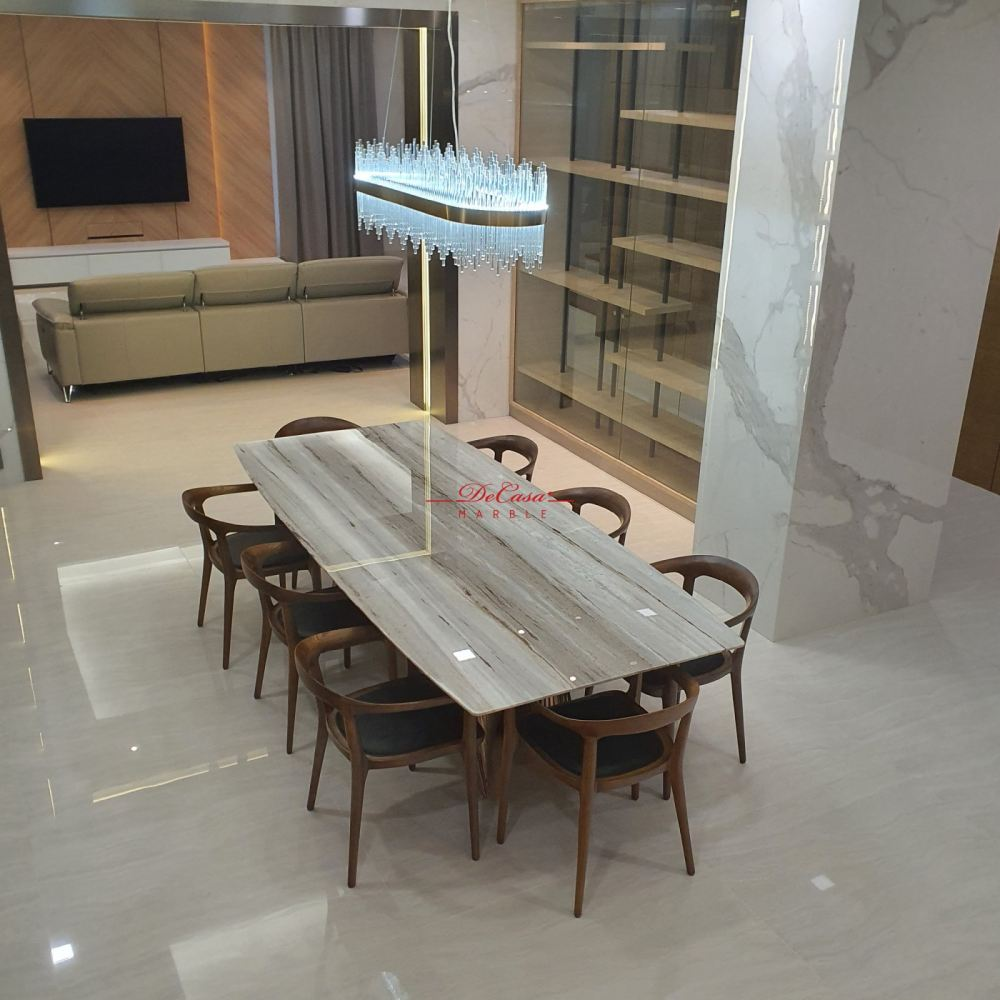 Luxury marble dining table | 9ft | Palisandro