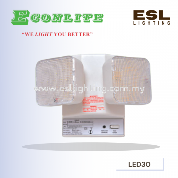 ECONLITE LED30 EMERGENCY LIGHTING LUMINAIRE TWIN-LAMP SELF CONTAINED ECONLITE Selangor, Malaysia, Kuala Lumpur (KL), Seri Kembangan Supplier, Suppliers, Supply, Supplies | E S L Lighting (M) Sdn Bhd
