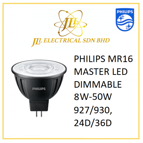 PHILIPS MR16 MASTER LED DIMMABLE 8W-50W 927/930, 24D/36D