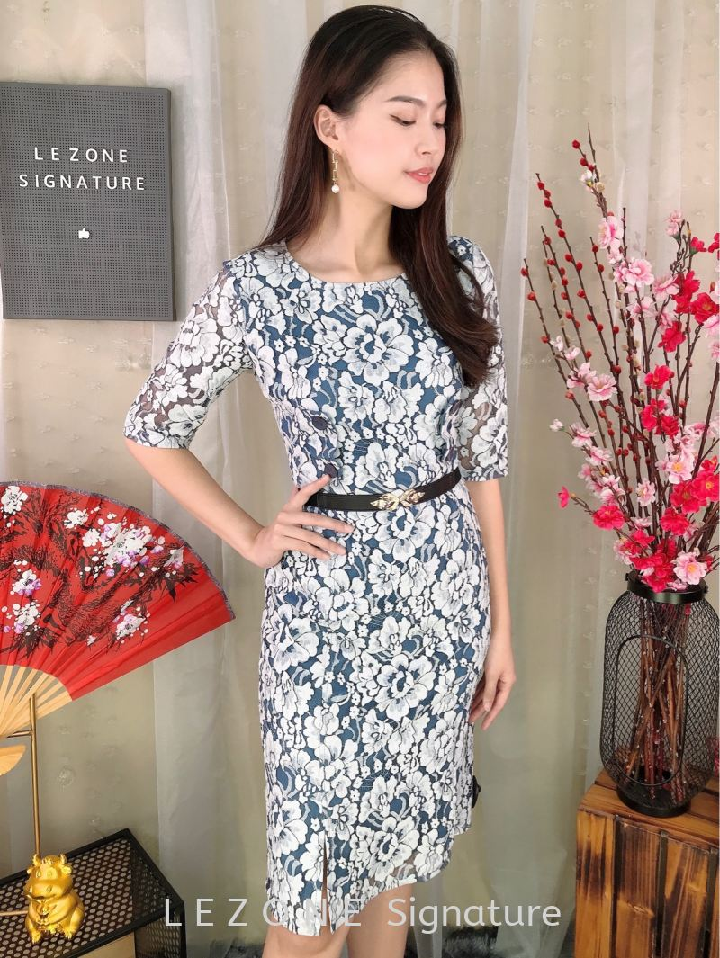 63215 Laced 3/4 Sleeved Dress