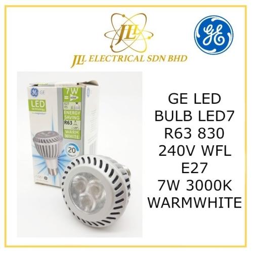 GE LED BULB PAR20 LED7 R63 830 240V ~20D WFL E27 7W 3000K WARMWHITE