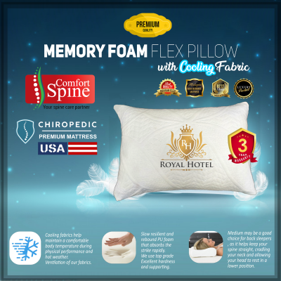 Memory Foam FLEX Pillow with Cooling Fabric & Neck Support comfortable for neck pain bantal premium