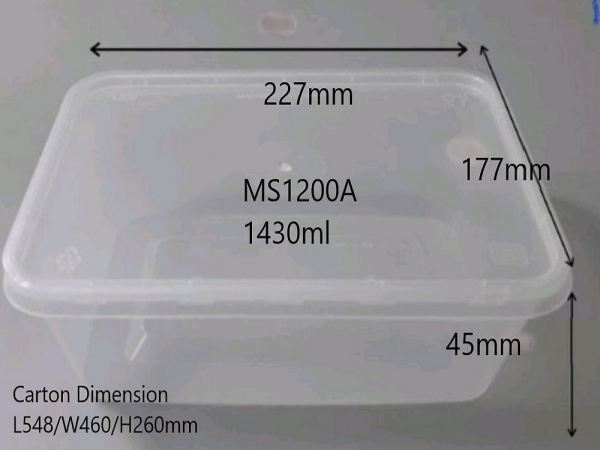 MS-1200A BASE (300 PCS) RECTANGLE CONTIANER MICROWAVEABLE PLASTIC CONTAINNER Kuala Lumpur (KL), Malaysia, Selangor, Kepong Supplier, Suppliers, Supply, Supplies | RS Peck Trading