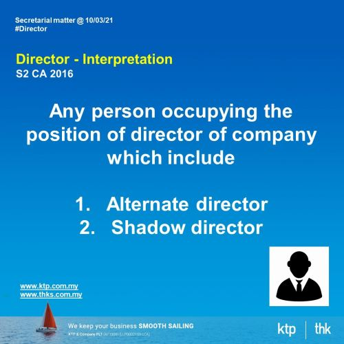 who is director under the Company Act 2016