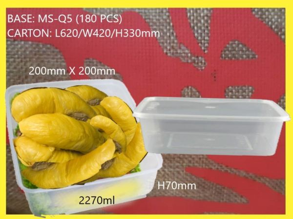 MS-Q5 BASE ONLY SQUARE LARGE CONTAINER (180 PCS) SQUARE CONTIANER MICROWAVEABLE PLASTIC CONTAINNER Kuala Lumpur (KL), Malaysia, Selangor, Kepong Supplier, Suppliers, Supply, Supplies   RS Peck Trading