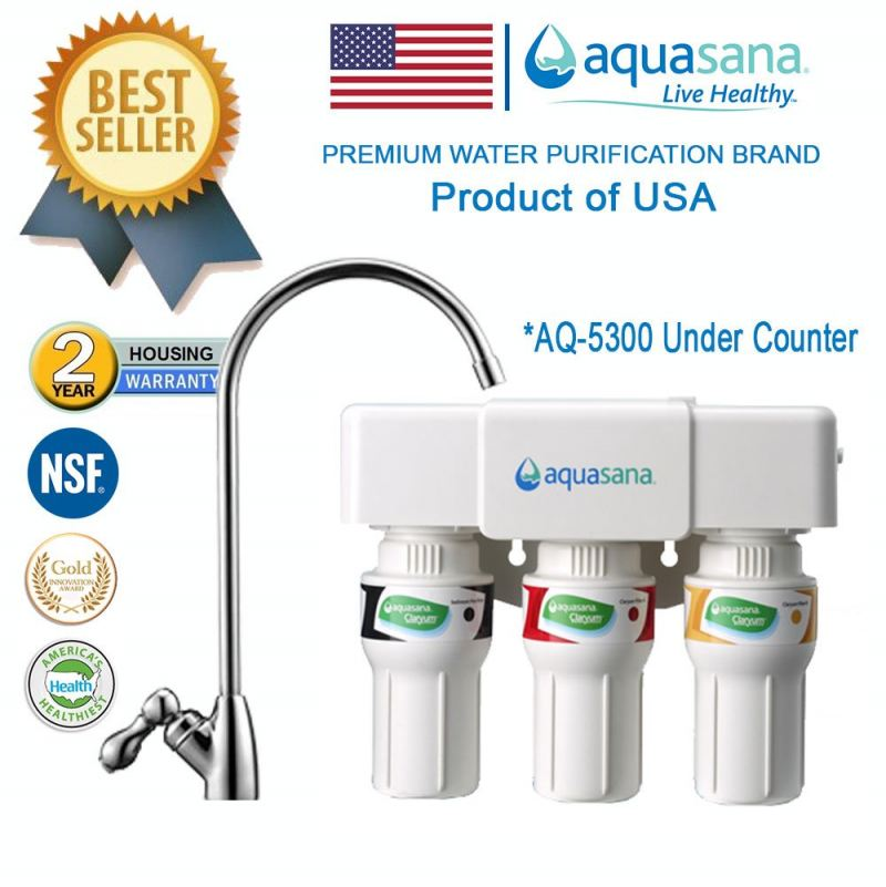 (UNDER COUNTER) AQUASANA AQ-5300 Water Filter Water Purifier Filter - (4 NSF Approved, 2 Years Housing Warranty)